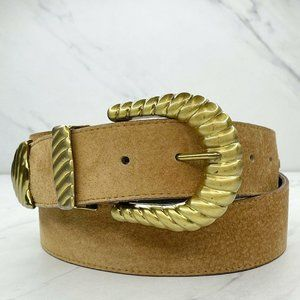 Omega Brown Vintage Wide Genuine Suede Belt